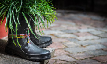 A pair of boots filled with plants decorating a front door