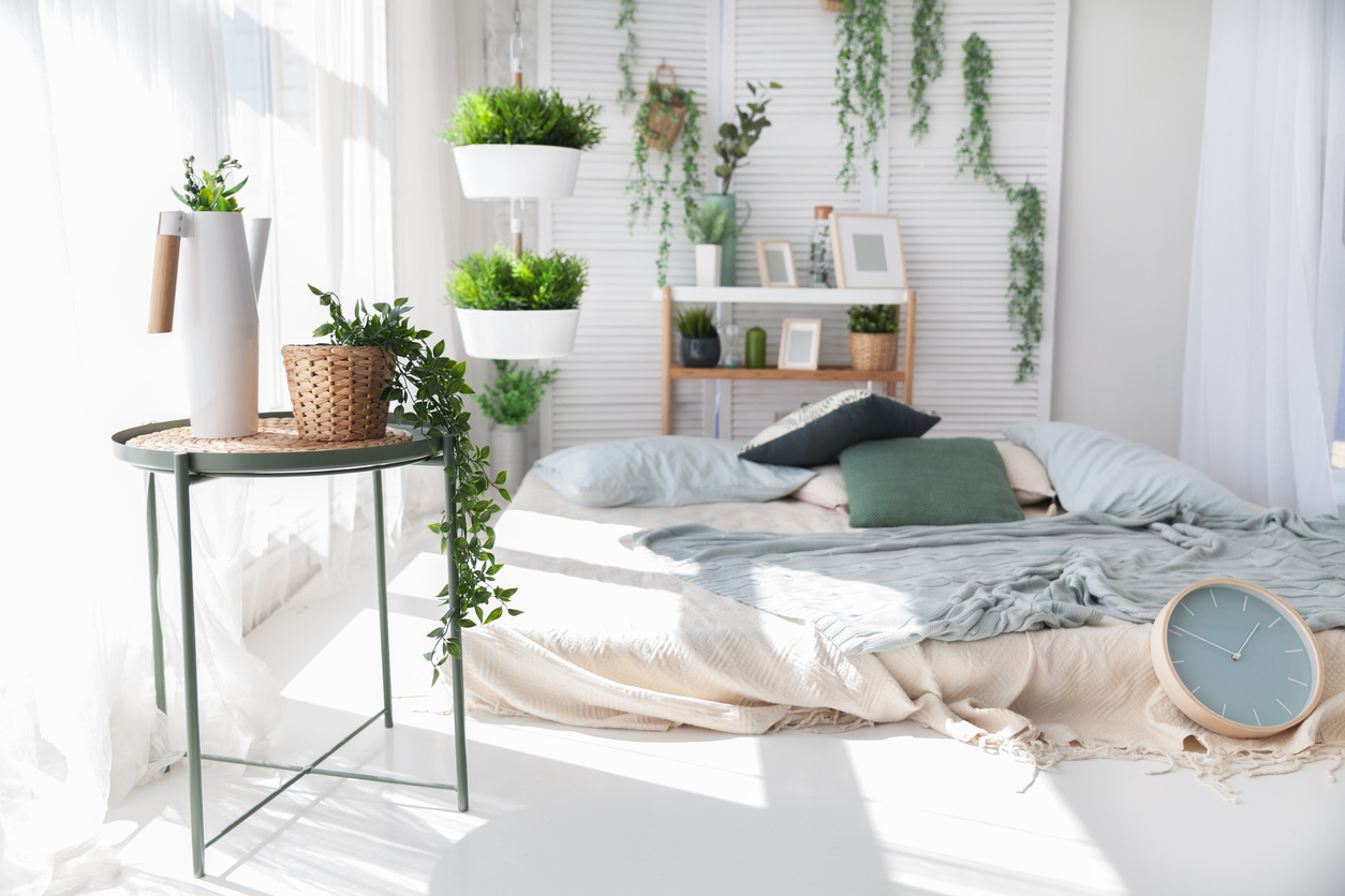 bedroom-with-several-potted-plants-and-sunny-windows