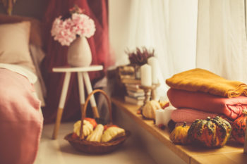 eco-friendly fall decorating goods in a bedroom