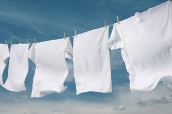 shirts air-drying on clothesline
