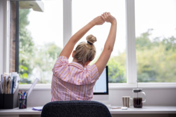 woman in home office   eco-friendly home office