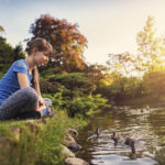 sitting at a duck pond | summer afternoon